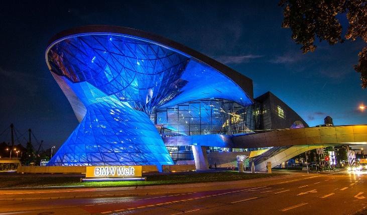 illuminated BMW World in Munich at night