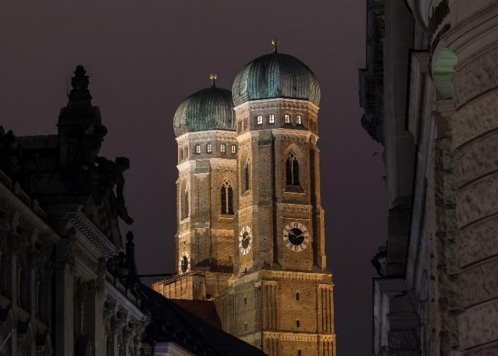 Illuminated Frauenkirche at night