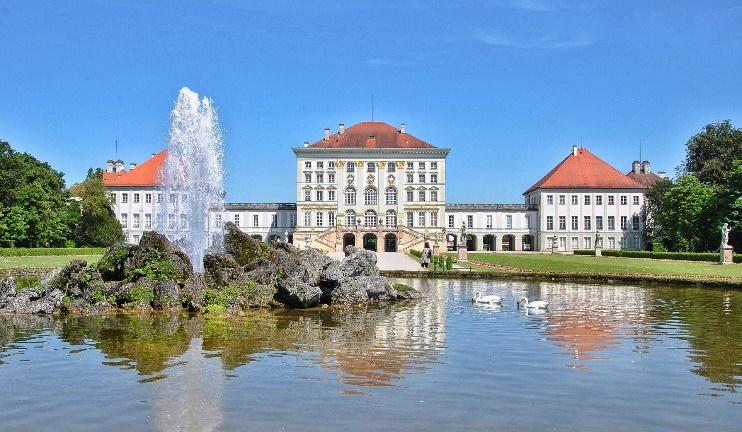 Nymphenburg palace main entrance with fountain in front