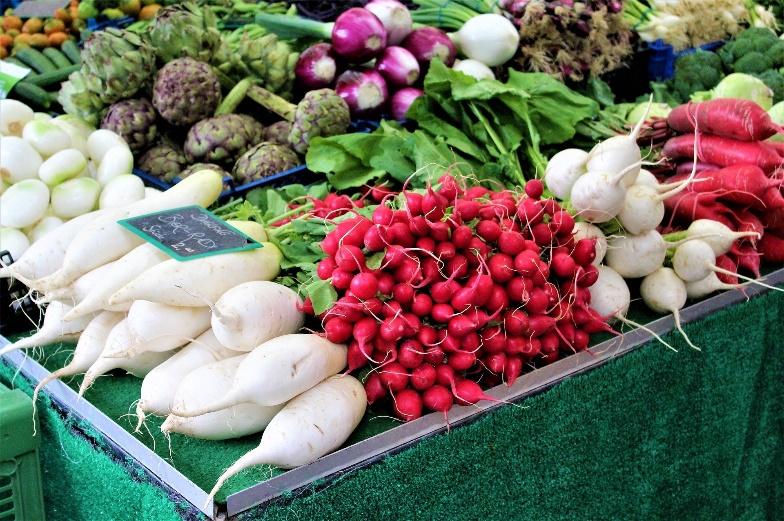 Fresh typical Bavarian vegetables such as raddishes, artichokes