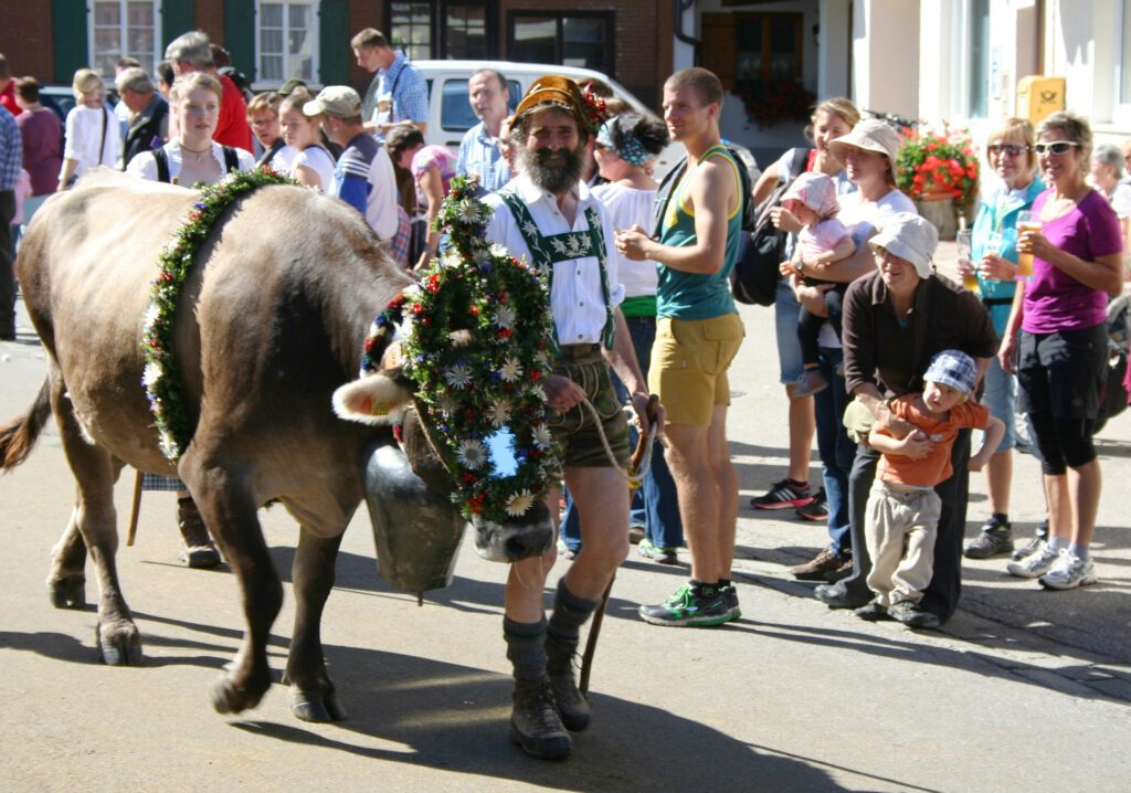 almabtrieb with farmer in traditional costume