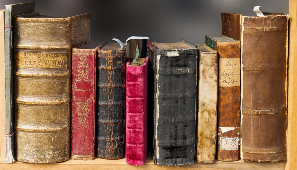 very old books in a library