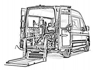 MAN TGE mit Linear lift und Rollstuhl