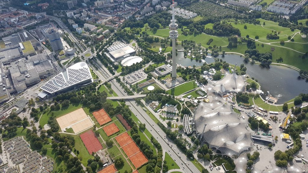 Olympic park with tent roof, Olympic tower and tennis courts - aerial view
